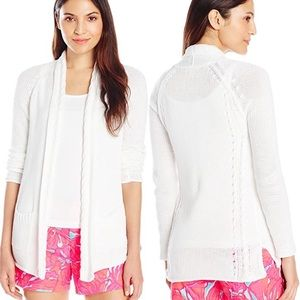 Lilly Pulitzer Leah Open Cardigan Resort White XXS